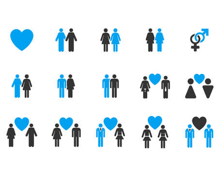 raster sex: Love Pairs raster icon set. Style is bicolor blue and gray flat symbols isolated on a white background.