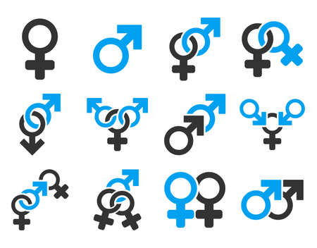 raster sex: Sexual Relation Symbols raster icon set. Style is bicolor blue and gray flat symbols isolated on a white background.