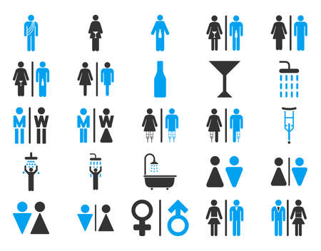 raster sex: Toilet Persons raster icon set. Style is bicolor blue and gray flat symbols isolated on a white background.