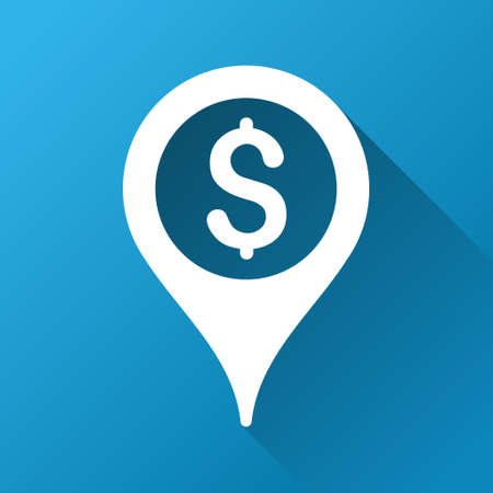 map marker: Bank Map Marker vector toolbar icon for software design. Style is a white symbol on a square blue background with gradient long shadow. Illustration