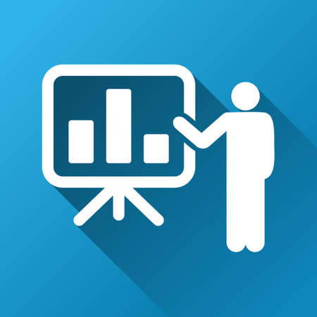 presentaion: Bar Chart Presentation vector toolbar icon for software design. Style is a white symbol on a square blue background with gradient long shadow. Illustration
