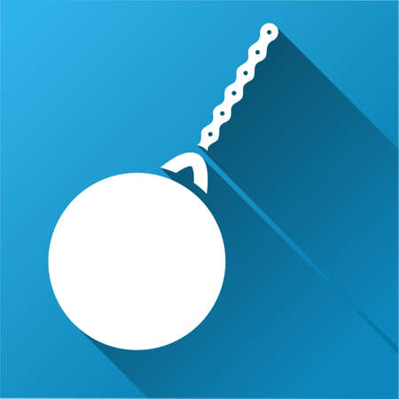 housebreaking: Destruction Hammer vector toolbar icon for software design. Style is a white symbol on a square blue background with gradient long shadow.