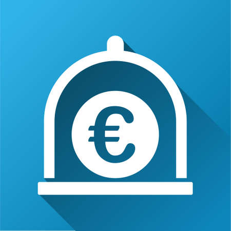 preservative: Euro Standard vector toolbar icon for software design. Style is a white symbol on a square blue background with gradient long shadow.
