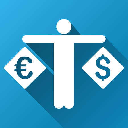 moneymaker: Forex Trader vector toolbar icon for software design. Style is a white symbol on a square blue background with gradient long shadow.