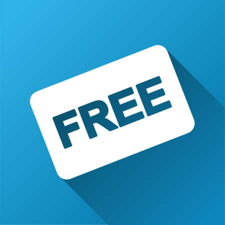 Free Card vector toolbar icon for software design. Style is a white symbol on a square blue background with gradient long shadow.