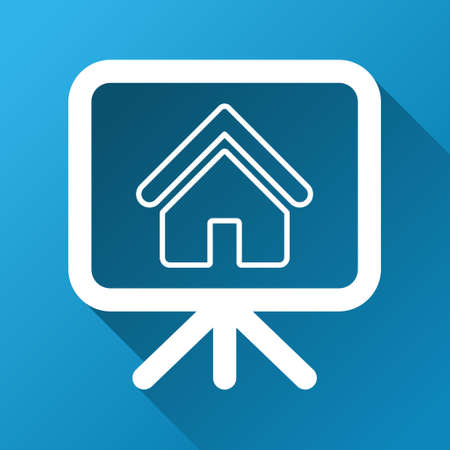 presentaion: House Project vector toolbar icon for software design. Style is a white symbol on a square blue background with gradient long shadow.