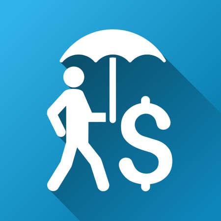Walking Geschäftsmann unter Regenschirm Vektor-Symbol in der Symbolleiste für Software-Design. Style ist ein weißes Symbol auf einem quadratischen blauen Hintergrund mit Farbverlauf langen Schatten.