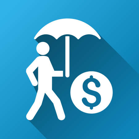 investor: Walking Investor With Umbrella vector toolbar icon for software design. Style is a white symbol on a square blue background with gradient long shadow. Illustration