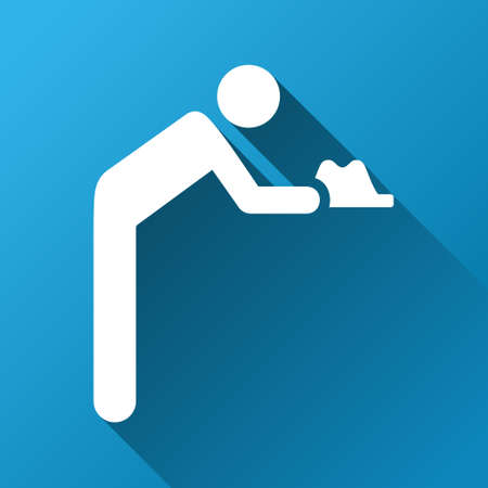 Servant vector toolbar icon for software design. Style is a white symbol on a square blue background with gradient long shadow.