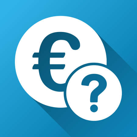 trading questions: Euro Status raster toolbar icon for software design. Style is a white symbol on a square blue background with gradient long shadow.