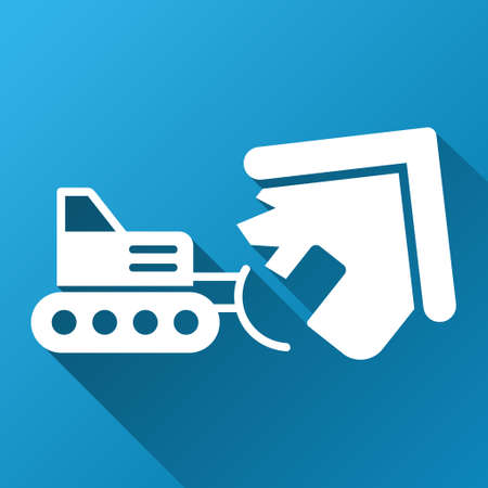House Demolition raster toolbar icon for software design. Style is a white symbol on a square blue background with gradient long shadow.