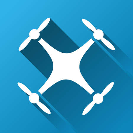 airflight: Quadcopter raster toolbar icon for software design. Style is a white symbol on a square blue background with gradient long shadow. Stock Photo
