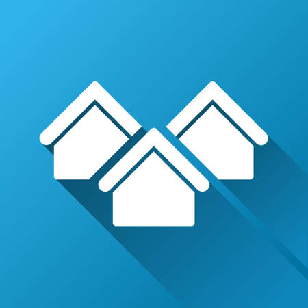 architecture bungalow: Real Estate raster toolbar icon for software design. Style is a white symbol on a square blue background with gradient long shadow.