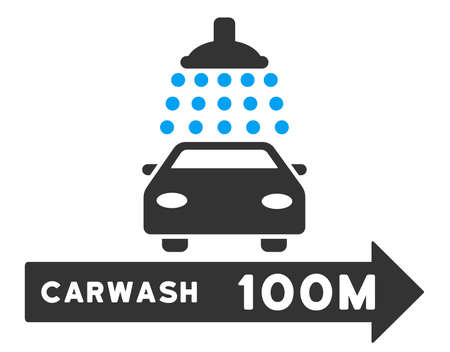 carwash: Carwash Right Direction vector illustration for street advertisement. Style is bicolor blue and gray flat symbols on a white background. Illustration