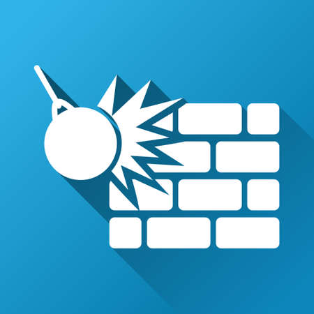 housebreaking: Wall Destruction raster toolbar icon for software design. Style is a white symbol on a square blue background with gradient long shadow.