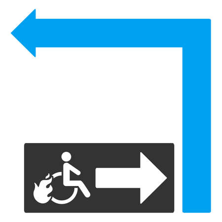 fire exit: Disabled Person Fire Exit Turn Left vector illustration. Style is bicolor blue and gray flat symbols on a white background.