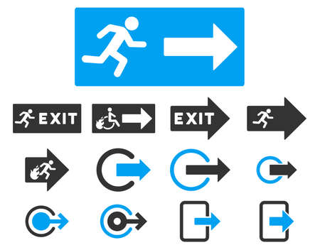 burn out: Fire Exit vector icon set. Style is bicolor blue and gray flat symbols isolated on a white background. Illustration