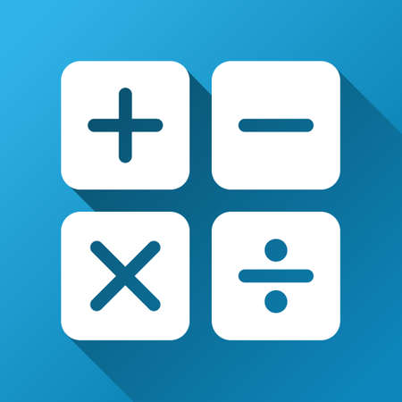 calc: Calculator vector toolbar icon for software design. Style is a white symbol on a square blue background with gradient long shadow. Illustration
