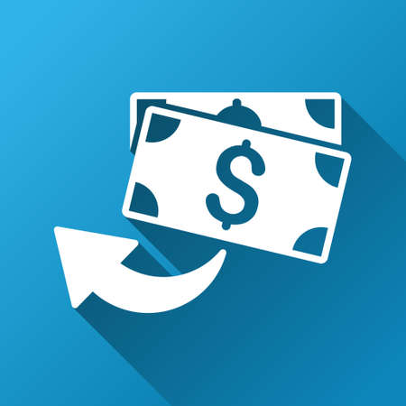 refund: Cashback vector toolbar icon for software design. Style is a white symbol on a square blue background with gradient long shadow.