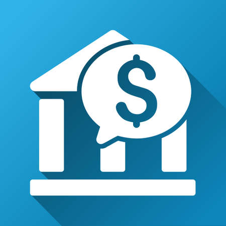 investment real state: Bank Transaction Message vector toolbar icon for software design. Style is a white symbol on a square blue background with gradient long shadow.