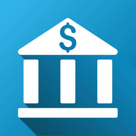 corporative: Bank Building vector toolbar icon for software design. Style is a white symbol on a square blue background with gradient long shadow. Illustration
