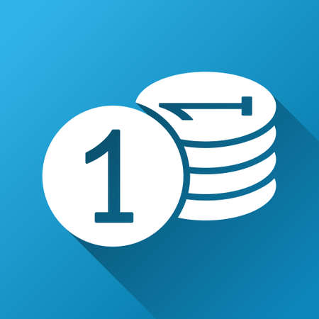 treasury: Coins vector toolbar icon for software design. Style is a white symbol on a square blue background with gradient long shadow.