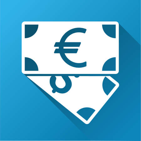 banknotes: Euro and Dollar Banknotes vector toolbar icon for software design. Style is a white symbol on a square blue background with gradient long shadow.