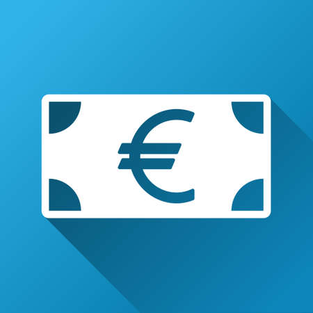banknote: Euro Banknote vector toolbar icon for software design. Style is a white symbol on a square blue background with gradient long shadow.