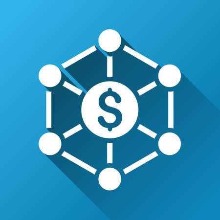 cashflow: Financial Network Scheme vector toolbar icon for software design. Style is a white symbol on a square blue background with gradient long shadow.