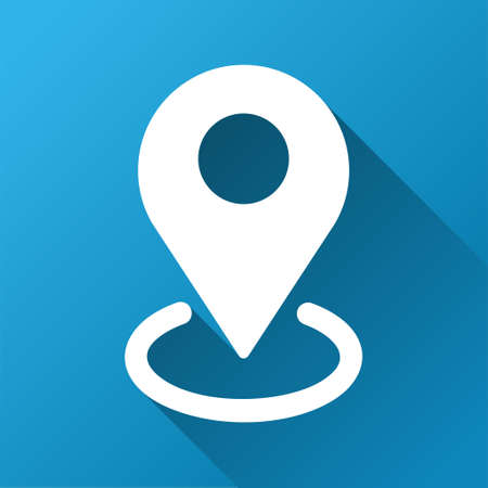 Geo Targeting vector toolbar icon for software design. Style is a white symbol on a square blue background with gradient long shadow.
