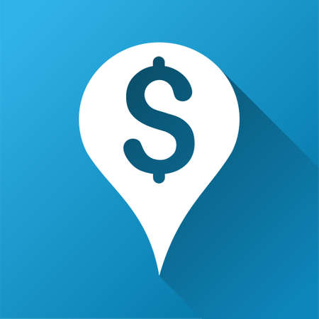 financial position: Money Map Marker vector toolbar icon for software design. Style is a white symbol on a square blue background with gradient long shadow.