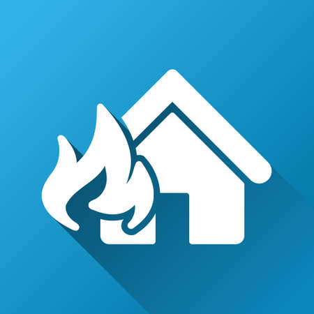 fire damage: Realty Fire Damage vector toolbar icon for software design. Style is a white symbol on a square blue background with gradient long shadow.