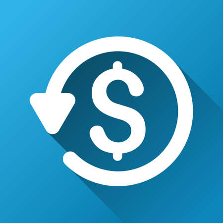 moneyback: Refund vector toolbar icon for software design. Style is a white symbol on a square blue background with gradient long shadow.