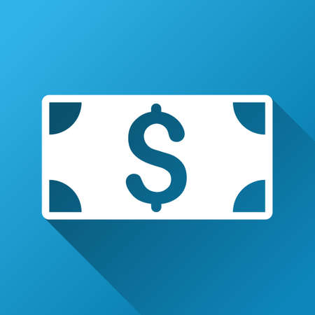 banknote: Banknote raster toolbar icon for software design. Style is a white symbol on a square blue background with gradient long shadow.