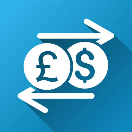 bank activities: Money Exchange raster toolbar icon for software design. Style is a white symbol on a square blue background with gradient long shadow. Stock Photo