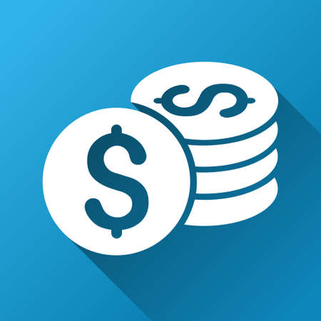 dollar coins: Dollar Coins raster toolbar icon for software design. Style is a white symbol on a square blue background with gradient long shadow.