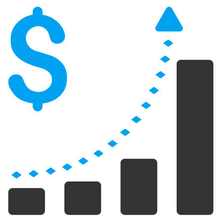 Business Bar Chart Positive Trend vector toolbar icon. Style is flat icon symbol, color, white background, rhombus dots.