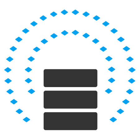 db: Database Sphere Shield vector toolbar icon. Style is flat icon symbol, color, white background, rhombus dots.