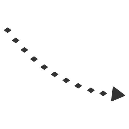 decline: Dotted Decline Trend vector toolbar icon. Style is flat icon symbol, color, white background, rhombus dots.