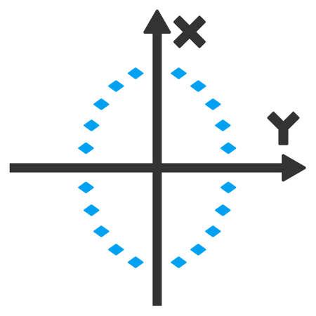 elipse: Elipse de puntos icono de la barra de herramientas de trazado vectoriales. El estilo es el símbolo plana icono, color, fondo blanco, puntos rombo. Vectores