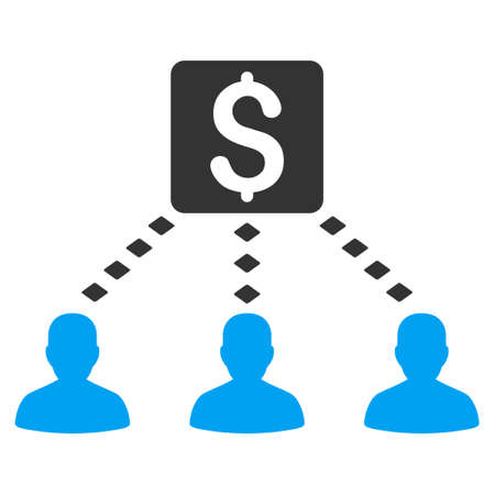 command structure: Money Recipients vector toolbar icon. Style is flat icon symbol, color, white background, rhombus dots.