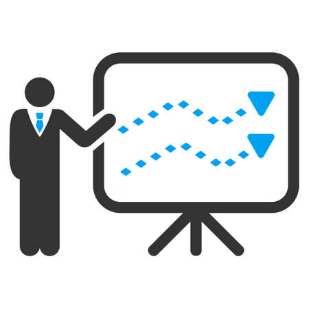trends: Trends Presentation vector toolbar icon. Style is flat icon symbol, color, white background, rhombus dots. Illustration