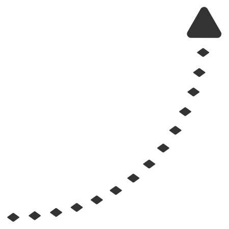 curve line: Dotted Growth Line raster toolbar icon. Style is flat icon symbol, color, white background, rhombus dots. Stock Photo