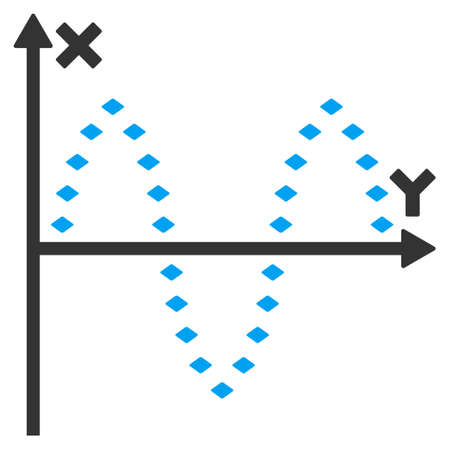 oscillations: Dotted Sinusoid Plot raster toolbar icon. Style is flat icon symbol, color, white background, rhombus dots.