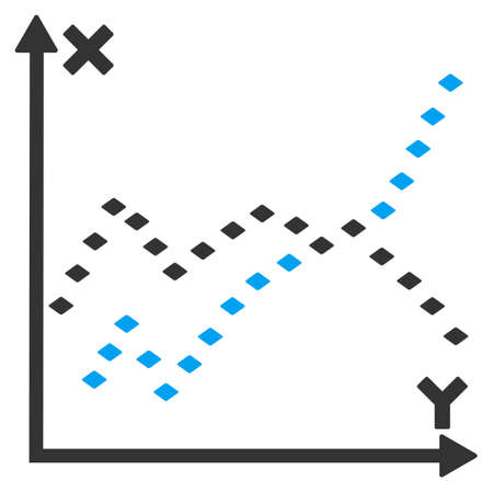 plot: Dotted Functions Plot raster toolbar icon. Style is flat icon symbol, color, white background, rhombus dots. Stock Photo