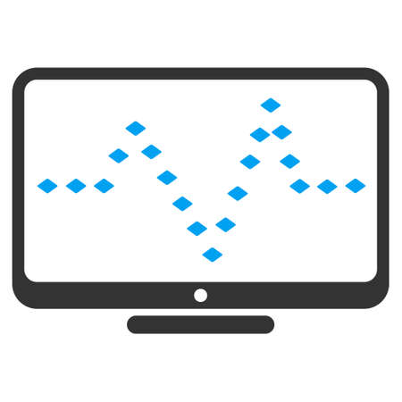 to pulsate: Monitor Dotted Pulse raster toolbar icon. Style is flat icon symbol, color, white background, rhombus dots. Stock Photo
