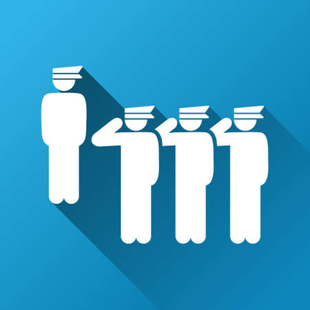 squad: Army Squad Parade vector toolbar icon for software design. Style is a white symbol on a square blue background with gradient long shadow.