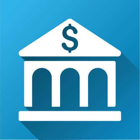 corporative: Bank vector toolbar icon for software design. Style is a white symbol on a square blue background with gradient long shadow.