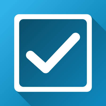 marked boxes: Checkbox vector toolbar icon for software design. Style is a white symbol on a square blue background with gradient long shadow.