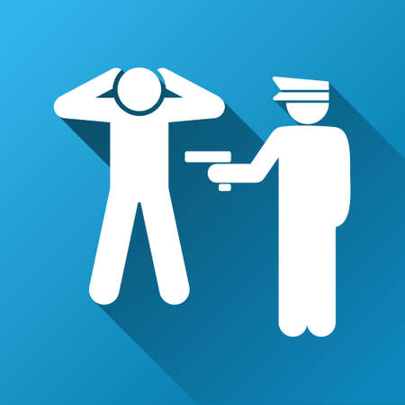 arrested: Criminal Arrest vector toolbar icon for software design. Style is a white symbol on a square blue background with gradient long shadow. Illustration